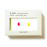 A. pair Earrings - pink / neon yellow