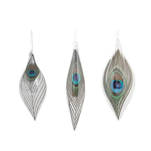 Glaspynt med påfuglefjer / Peacock Feather Glass Ornaments