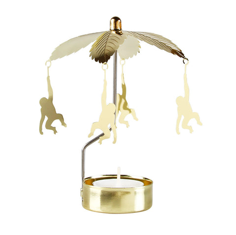 Monkey Go Round Candle Holder - gold
