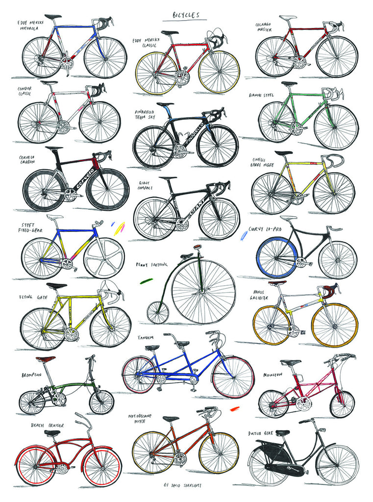 Magma Bicycle Chart Print by David Sparshott - pt udsolgt/sold out