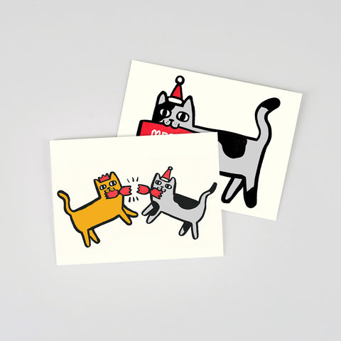 Mini Christmas Cards Set - Cats