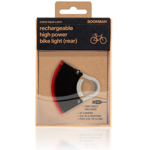 Bookman Curve Rear Light Genopladelig cykellygte BAG / Rechargeable Bicycle Light REAR