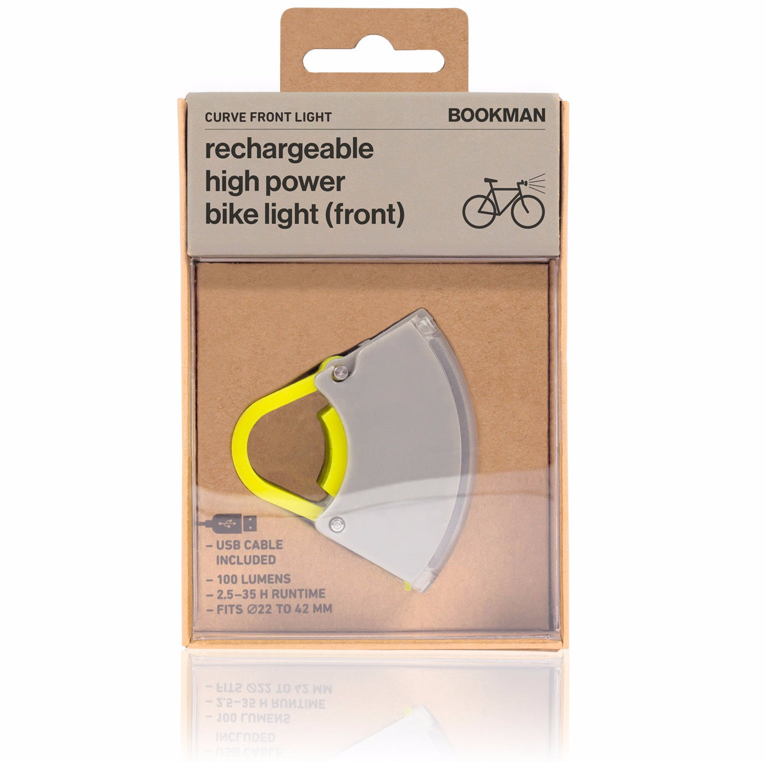 Bookman Curve 2 Light Genopladelig cykellygte FOR / Rechargeable Bicycle Light FRONT