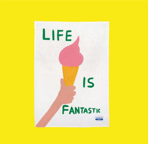 David Shrigley Life Is Fantastic Dish Towel pt udsolgt/pt sold out-restocking