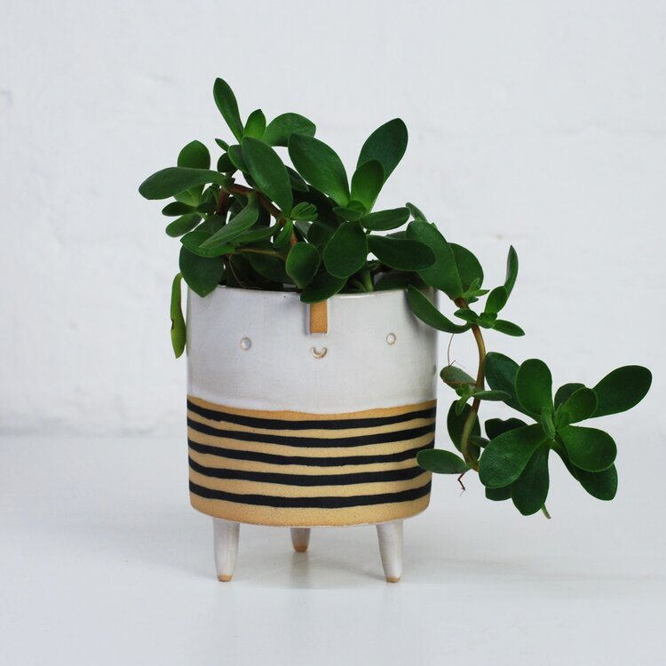 Medium Tripod Striped Pot