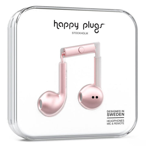 Happy Plugs Earbud Plus Headphones - Pink Gold