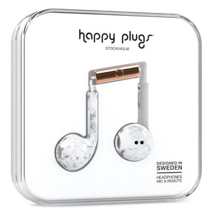 Happy Plugs Earbud Plus Headphones - White Marble