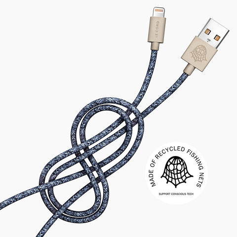 Le Cord Charge & Sync Cable - blue - 2 meter - recycled