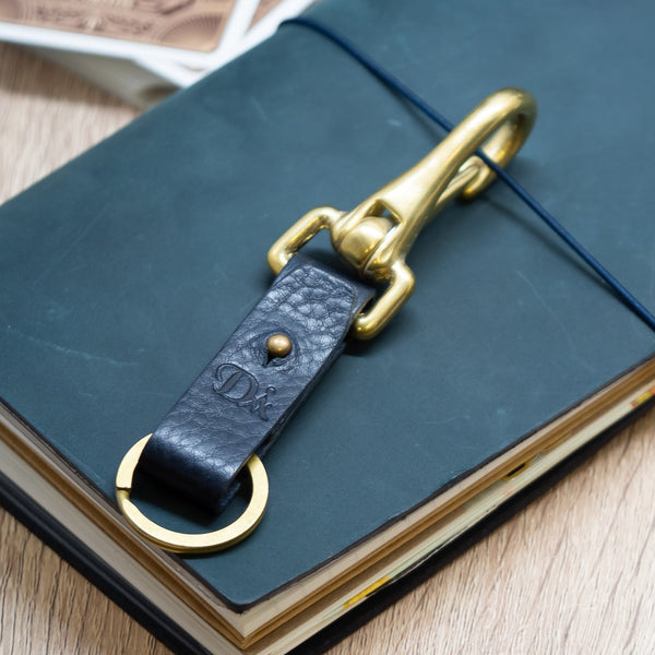 Diarge Japan Brass & Leather Key Ring - Navy