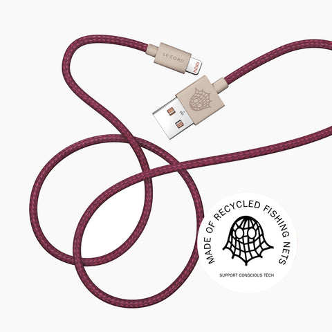 Le Cord Charge & Sync Cable - red - 2 meter - recycled
