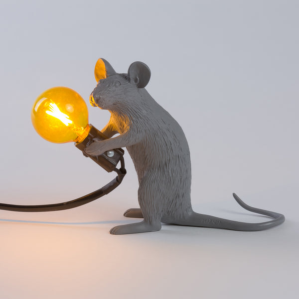 Seletti Mouse Lamp Grey Sitting