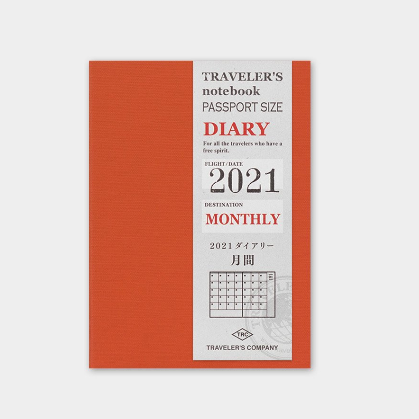 Traveler's Company Traveler's Notebook 2021 Monthly Diary Passport Size