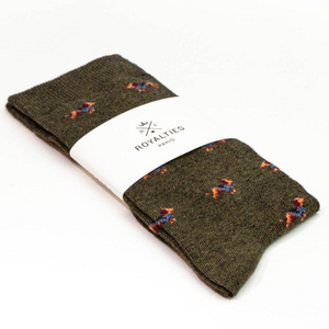 ROYALTIES Paris Mens Socks - Sherlock Kaki