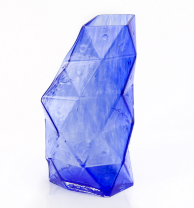 Poliedro Glass Vase - Blue