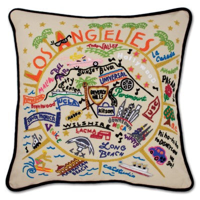 Håndbroderet pude Los Angeles/ hand embroidered pillow Los Angeles