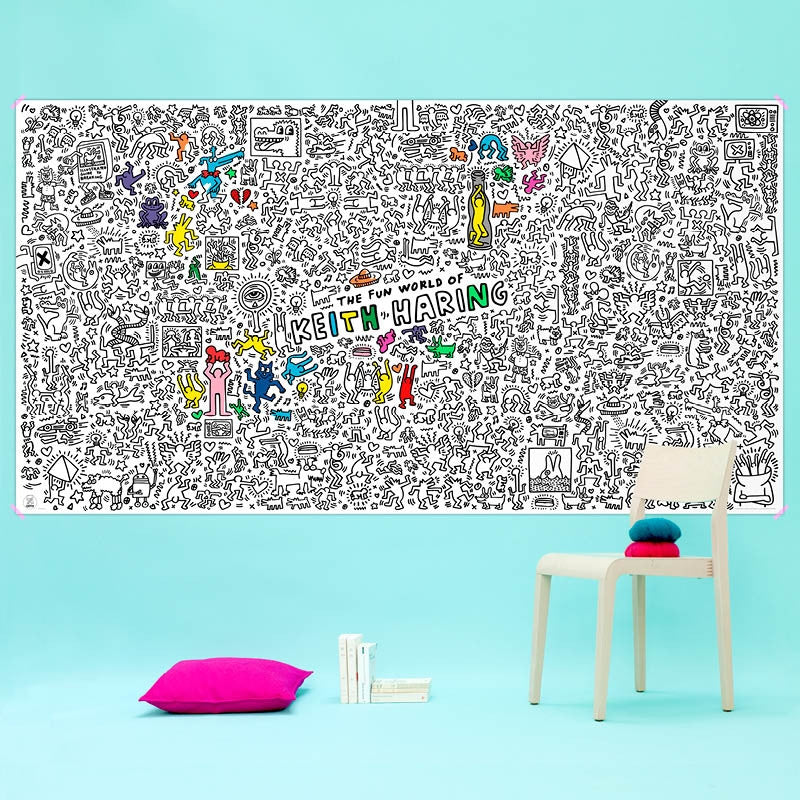 Omy Coloriage Keith Haring kæmpeplakat til at farvelægge / giant colouring poster
