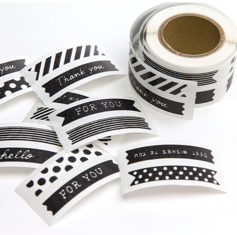 Midori Chotto Stickers - Thin Ribbon Black