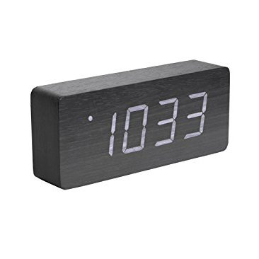 "Alarm Clock ""Wood"" vækkeur - Black"