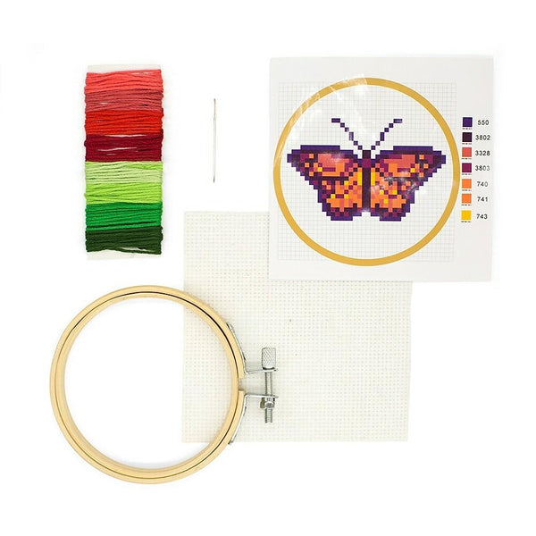 Kikkerland Mini Cross Stitch Embroidery Kit - Butterfly - Pre Order