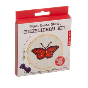 Kikkerland Mini Cross Stitch Embroidery Kit - Butterfly