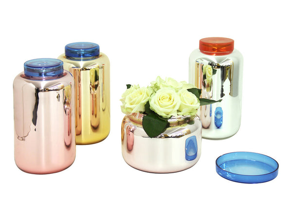 Glass Container Low pink/blue - Sebastian Herkner