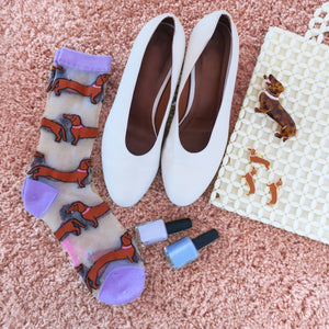 Coucou Suzette Transparent Dachshund Socks