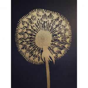 Monika Petersen Lino Print - Dandelion Gold/Black