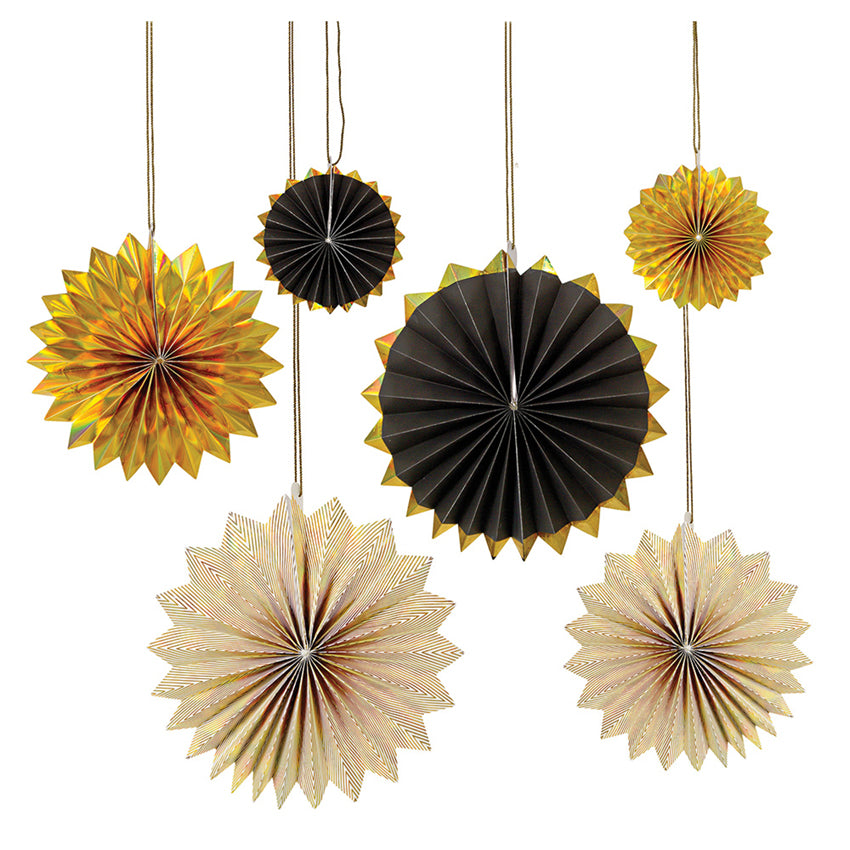 Giant Black & Gold Pinwheel Decorations