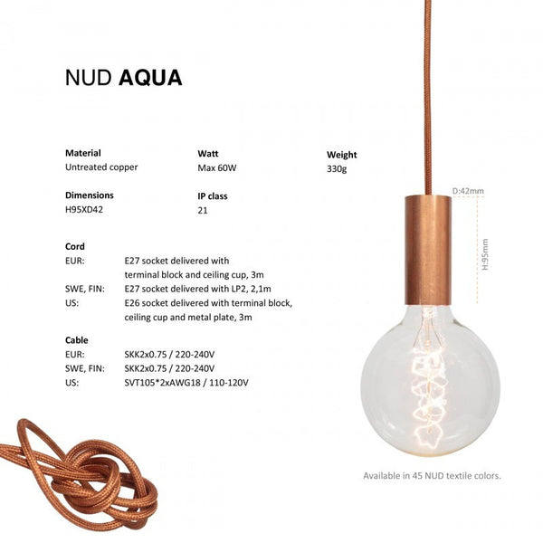 NUD Aqua Kobberfatning med ledning / Copperlamp with wire