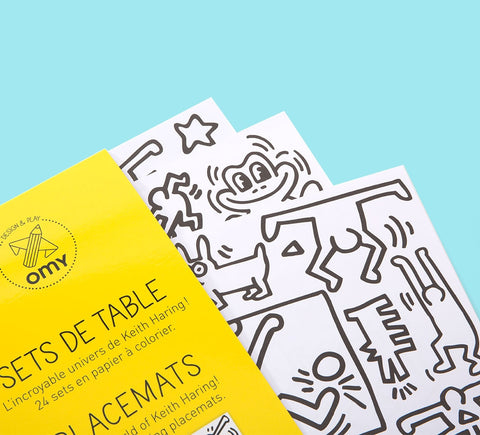 OMY Colour Set Keith Haring dækkeservietter / colouring placemats