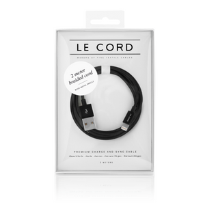 Le Cord Charge & Sync Cable -  Black 2m