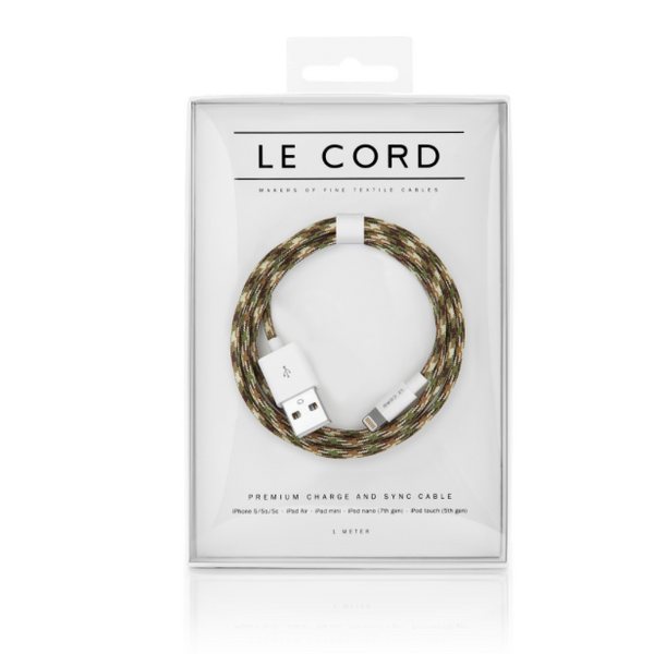 Le Cord Charge & Sync Cable -  Camo 1,2m