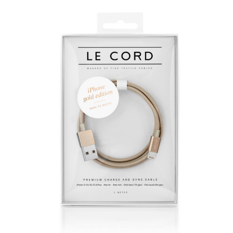 Le Cord Charge & Sync Cable -  Gold 1m - pt. udsolgt/out of stock