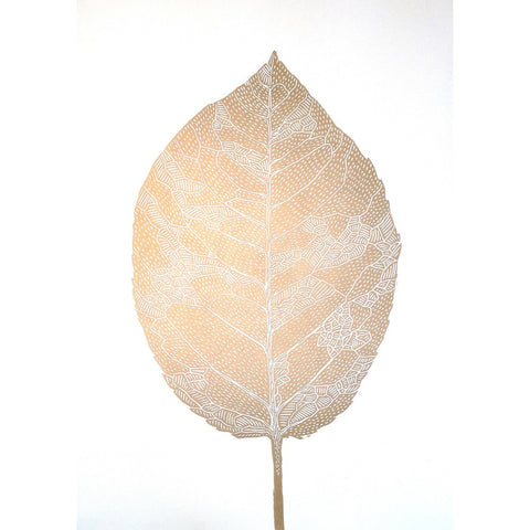 Monika Petersen Lino Print - Birch Leaf Gold/White