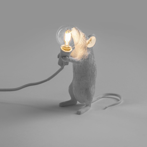 Seletti Mouse Lamp White Standing/pt udsolgt - sold out