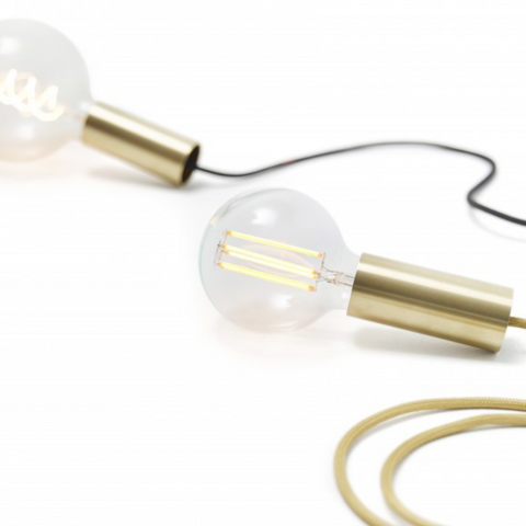 NUD Rail Messingfatning med ledning / Brass lamp with wire