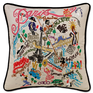 Håndbroderet pude Paris / hand embroidered pillow Paris