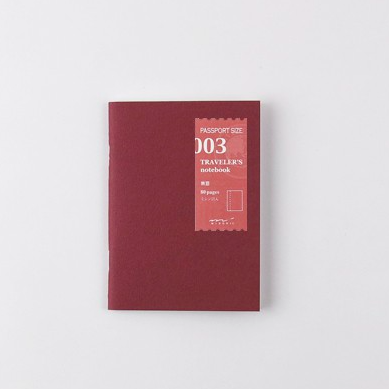 Traveler's Company Traveler's Notebook Refill 003 Plain Passport Size