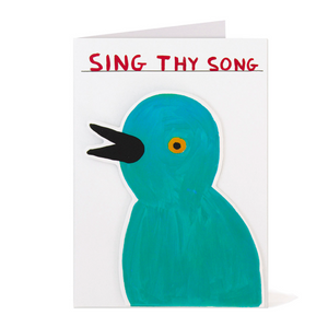 David Shrigley Puffy Sticker Card - Sing Thy Song