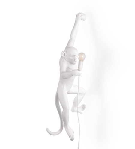 Seletti Monkey Lamp White Wall