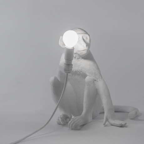 Seletti Monkey Lamp White Sitting