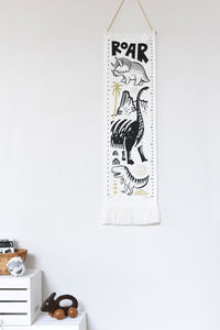 Black & White Canvas Growth Chart, Dino