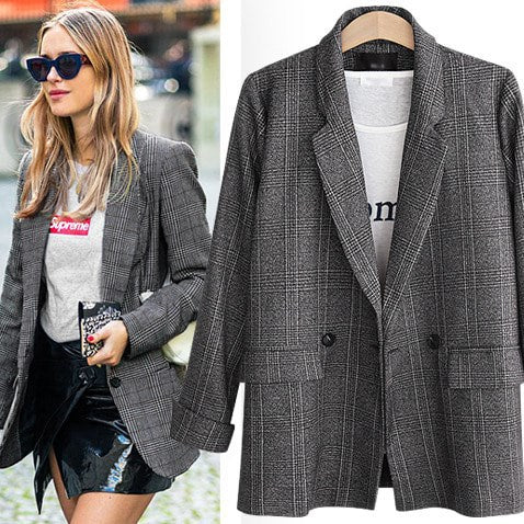 Grid design casual women jacket