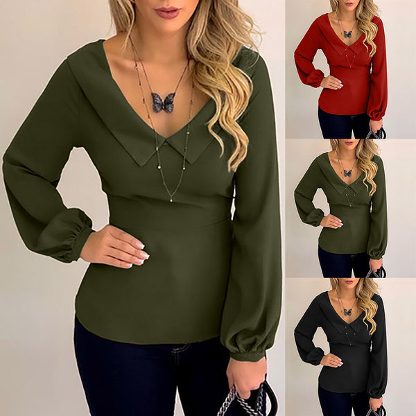 Slim casual long sleeve V-neck bow shirt