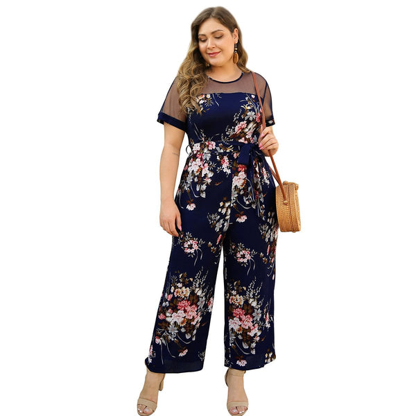 Floral Mesh splicing lace up holiday Jumpsuit