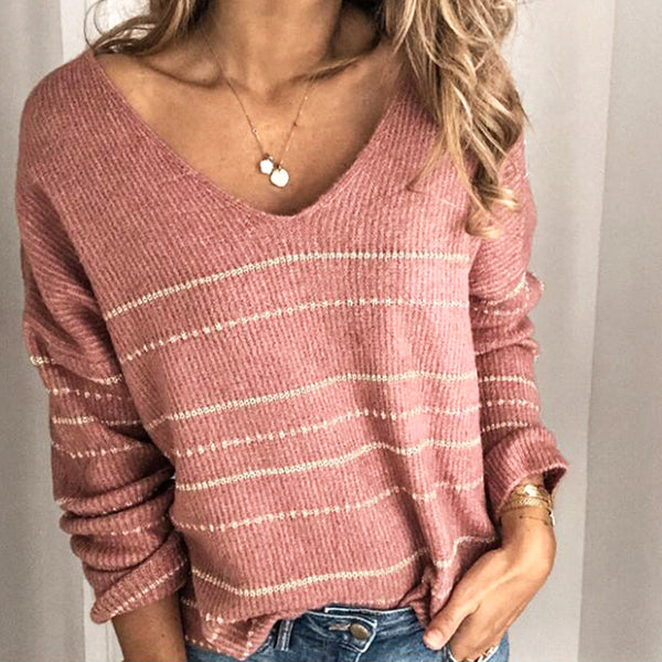 New knitwear casual stripe V-Neck Sweater Top