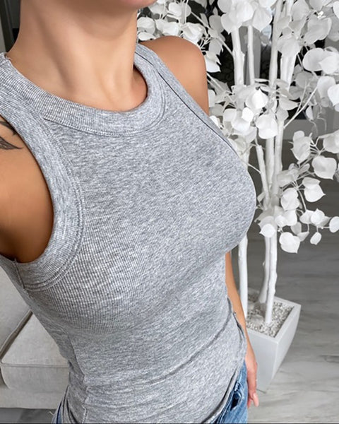 Knit design women round neck tank top