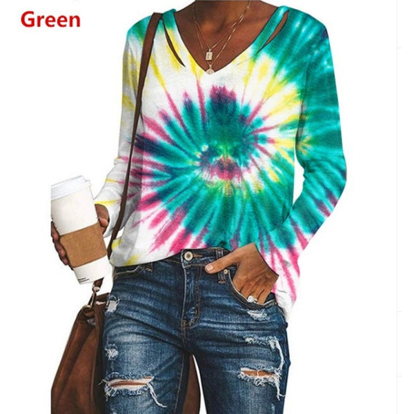 V-neck tie dye long sleeve loose top T-shirt