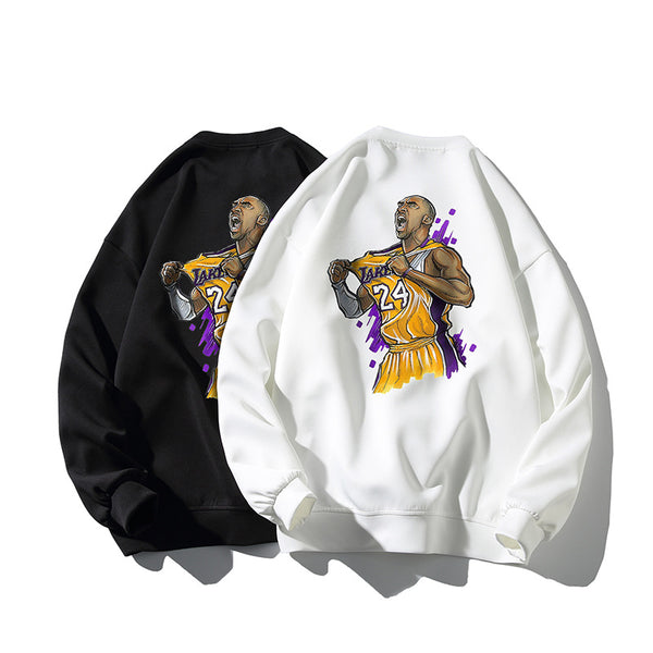 Men's long sleeve sweater with round neck in memory of Kobe