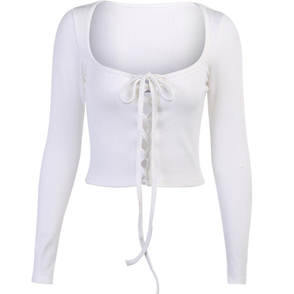 Lace up square neck women knit top
